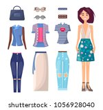girl in summer outfit with... | Shutterstock .eps vector #1056928040