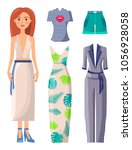 woman and clothes collection ... | Shutterstock .eps vector #1056928058