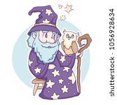 funny wise wizard with an owl ... | Shutterstock .eps vector #1056928634