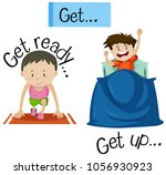 wordcard for get ready and get... | Shutterstock .eps vector #1056930923