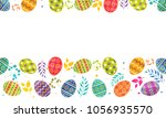 colorful painted eggs on white...   Shutterstock .eps vector #1056935570