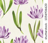 seamless watercolor floral... | Shutterstock . vector #1056936620