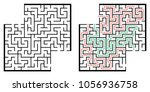 illustration with labyrinth... | Shutterstock .eps vector #1056936758