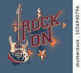 rock on   music design with... | Shutterstock .eps vector #1056940796