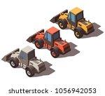 isometric wheel loader isolated | Shutterstock .eps vector #1056942053