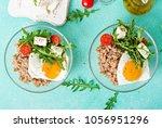 healthy breakfast with egg ... | Shutterstock . vector #1056951296