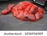 hazardous bag red bio hazard...   Shutterstock . vector #1056956009