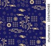 beautiful japanese seamless ... | Shutterstock .eps vector #1056960488