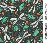 floral surface pattern design.... | Shutterstock .eps vector #1056963740