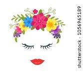 vector cartoon style cute woman ... | Shutterstock .eps vector #1056965189