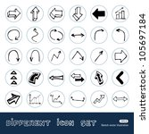 arrows web icons set. hand... | Shutterstock .eps vector #105697184
