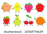Set Of Cute Cartoon Fruit....