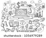 hand drawn business background  ... | Shutterstock .eps vector #1056979289