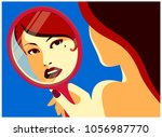 woman looking at her face... | Shutterstock .eps vector #1056987770