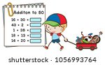 addition worksheet with boy and ... | Shutterstock .eps vector #1056993764