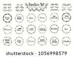 floral wreath set. hand drawn... | Shutterstock . vector #1056998579