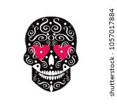 sugar skull icon with heart...   Shutterstock .eps vector #1057017884