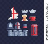 symbols england pixel art set... | Shutterstock .eps vector #1057022510