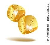 gold metal dice. two golden... | Shutterstock .eps vector #1057028189