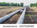 construction of oil pipeline... | Shutterstock . vector #1057028480
