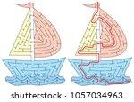 easy boat maze for younger kids ... | Shutterstock .eps vector #1057034963
