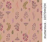 vector vintage seamless floral... | Shutterstock .eps vector #1057044254