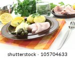 green asparagus with... | Shutterstock . vector #105704633