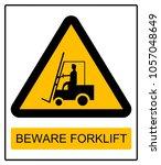 warning sign beware forklift | Shutterstock . vector #1057048649