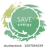 water color save energy label... | Shutterstock .eps vector #1057054259