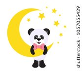 cartoon cute panda with tie and ... | Shutterstock .eps vector #1057055429