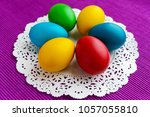 colorful eggs for holiday... | Shutterstock . vector #1057055810