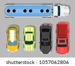 top view colorful car toys... | Shutterstock .eps vector #1057062806