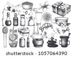 vintage fset of  hand drawn spa ... | Shutterstock .eps vector #1057064390