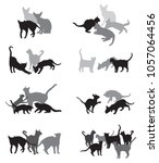 set vector silhouettes group of ... | Shutterstock .eps vector #1057064456