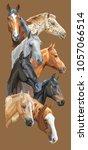 Stock vector vertical postcard with portraits of horses breeds trakehner horse welsh pony orlov trotter 1057066514