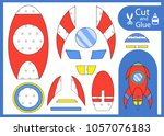 cut and glue the paper rocket.... | Shutterstock .eps vector #1057076183
