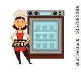 baker woman in bakery shop...   Shutterstock .eps vector #1057082186