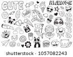 a set of graffiti doodles... | Shutterstock .eps vector #1057082243