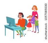 father playing on video games.... | Shutterstock .eps vector #1057085030