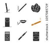 smoking glyph icons set.... | Shutterstock .eps vector #1057085729