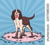 pop art springer spaniel. cute... | Shutterstock .eps vector #1057088330