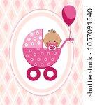 a little girl in a pink... | Shutterstock .eps vector #1057091540