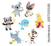 collection of cute cartoon...   Shutterstock .eps vector #1057153100