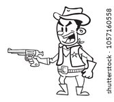 cowboy with gun yelling a... | Shutterstock .eps vector #1057160558