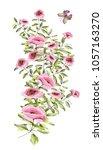 watercolor drawing of twigs... | Shutterstock . vector #1057163270