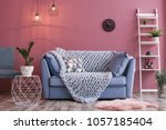 cozy living room interior with... | Shutterstock . vector #1057185404