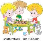 children playing checkers | Shutterstock .eps vector #1057186304