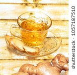 refreshing ginger tea... | Shutterstock . vector #1057187510