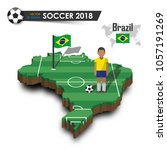 brazil national soccer team .... | Shutterstock .eps vector #1057191269