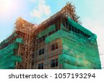 construction with working site... | Shutterstock . vector #1057193294